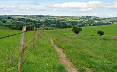Follow the fence.... (Blue sky and countryside) Tags: walking rambling keepingfit healthy freshair fence field derbyshire peak district bradbourne countryside views england pentax