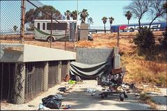 Off the 101 (ADMurr) Tags: la hollywood freeway encampment 101 bier 2016 leica m4 35mm summaron cbc127 kodak portra