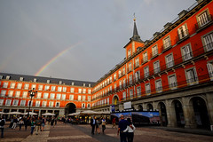 Rainbow over Madrid, Spain (` Toshio ') Tags: toshio madrid spain rainbow spanish plazademayor townsquare rain architecture history europe european europeanunion fujixe2 xe2