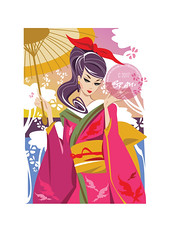 Blossom (Brani's fashion dolls) Tags: vintagedolls vintage barbie geisha japan blossom asian fashionillustration digital design art branimagination brani