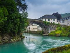 ¡Ay, qué verde baja el agua! (Jesus_l) Tags: europa francia aquitania pirineoatlántico lestellebétharram puente agua jesúsl