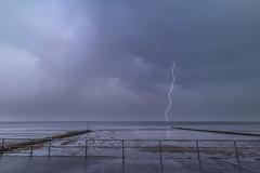 'Strike' - Colwyn Bay (Kristofer Williams) Tags: lightning thunderstorm beach cloud drama bolt sea coastal flood