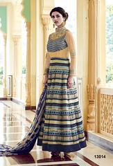 Semi Stitched Beige Silk Printed Anarakali Suit (nikvikonline) Tags: satin satinsalwar salwarkameez pakistani pakistanisuit suit suitsalwar salwar kameez designersalwar salwarsuit designer kamiz kamizonline suits straight pant green blue bridal wedding dress dresses