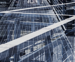 """Geometric Abstract (nrhodesphotos(the_eye_of_the_moment)) Tags: dsc63753001024 """"theeyeofthemoment21gmailcom"""" """"wwwflickrcomphotostheeyeofthemoment"""" summer2017 season manhattan nyc metal doubleexposure abstract lines diagonals shapes outdoors texture contrasts geometric"""