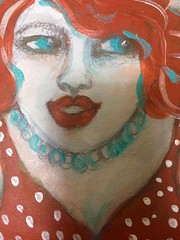 Summer Juice (Lola or Joie de Vivre) (sandra djurbuzovic) Tags: lola portret painting smile summerjuice juicy drawing art sandradjurbuzovic budva crnagora montenegro female woman happy joiedevivre red portrait juice summer ljeto reddot dress lips
