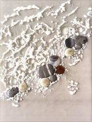 Shoreline #3 (Niven Glass Originals) Tags: glass art beach stones rocks shoreline ocean waves sae foam fused panel 9x12