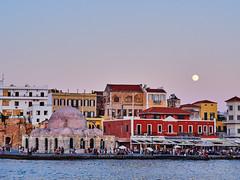 Moonrise (rasmusthepood) Tags: summer greece chania twilight moon oldtown harbour harbor