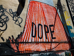 Dope (Steve Taylor (Photography)) Tags: art mural streetart tag graffiti black brown red uk gb england greatbritain unitedkingdom london perspective shadow dope