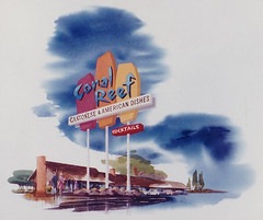 Proposed signage for the Coral Reef tiki bar and restaurant in Sacramento, CA. (atomicpear) Tags: vintage art illustration 1960s federal sign midcentury rendering restaurant modern architecture signage roadside advertising sacramento california coralreef tiki