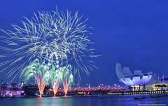 Firework (Br@jeshKr) Tags: firework ndpfireworksrehearsal ndp singapore celebration bluehour artsciencemuseum helixbridge singaporeflyer brajeshart marinabaysand singaporeevening