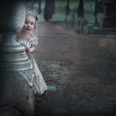 'Peek-A-BOO' (Natasha Root Photography) Tags: natasharootphotography inspire imagine create girl ghost ghostly game painterly cemetery toddler