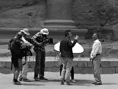The interview. (L_u_c) Tags: bw petra intervieuw people gente blackwhite blanconegro blanconigro blackandwhite noiretblanc noirblanc nb jordanian jordanien jordan télévision television reportage journalistes journalism journalisme