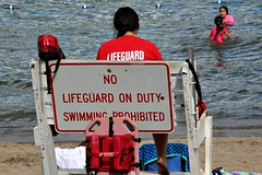 LIFEGUARD? NO LIFEGUARD? (MIKECNY) Tags: lifeguard sign funny beach sheperdpark lakegeorge water contradiction