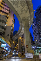 Hill Road, Hong Kong (mikemikecat) Tags: 西環 山道 香港 nightscape night road building twilight cityscapes carlzeiss a7r sony street urban 夜景 建築 城市 architecture fe2470mm sel2470z