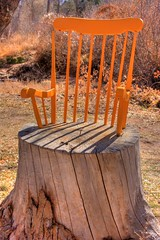 Stumpy Chair (David K. Edwards) Tags: chair stump outdoorart installation wood shidoni tesuque santafe newmexico landofenchantment orange broken