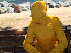 2016-Lego Yellow Man Statue by the Bay Outside SDCC-04 (David Cummings62) Tags: sandiego ca calif california comiccon con david dave cummings outside 2016 lego statue bay art man