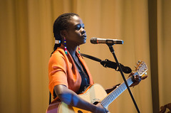 """Performance of original song """"Choices"""" by Mer (CAUX-Initiatives of Change) Tags: aeub2017 mainhall mer polarization singer audience participants performance"""