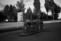 Tankstelle (zoltannagel) Tags: mamiya 135ee rangefinder messsucher bergger 200 black white film negative epson v600 35mm ilford ilfotec lc29 bw germany tankstelle