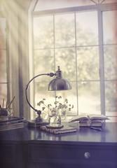 Desk by the Window (z_a_r_a___c_a_l_i_s_t_a) Tags: desk still life window light dark books faded colors sigma 50mm texture nikon d750