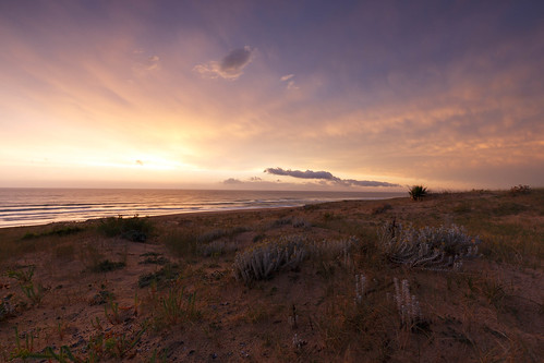 Amazing sky after cloudy sunset in the dunes