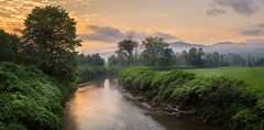 Life Of Summer (VermontScapes) Tags: early morning stowe vt vermont west branch river pretty green foggy hazy