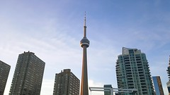 Toronto. (EyeEm: http://www.eyeem.com/u/12242292) (dgoldtography) Tags: eyeem photo photography photograph toronto cntower ontario canada city landscape samsung s7 blue sky architecture like follow wow love beautiful lookup look harbourfront lakeshore lake shore cn tower tall