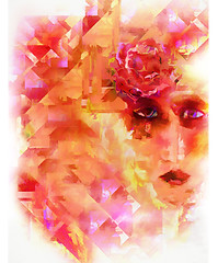 She Wore a Red Rose (Redux) (D'ArcyG) Tags: rose woman lady impression abstract cubism deco nouveau fashion vivid red yellow painting colorful moody elegance portrait art digitalart