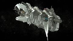 Rǔshǔn-kǎ, a Sarthîon Ship (Backward Matt) Tags: scifi sciencefiction ship space spaceship cathedral lego microspace ldd lddtopovrayconverter render 23rdcenturyuniverse 23cu backwardmatt mattthebackwardone