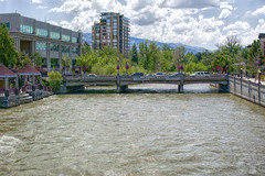 Reno Riverwalk (joe Lach) Tags: renoriverwalkdistrict riverwalk truckeeriver bridge overpass trees park cars buildings flowingwater rushingwater river stream reno nevada joelach
