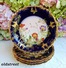 Limoges Porcelain Plates ~ Cobalt ~ Gold Encrusted (Donna's Collectables) Tags: limoges porcelain plates ~ cobalt gold encrusted