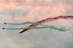 Two white red (quintinsmith_ip) Tags: redarrows red arrows smoke white blue plane jet formation raf british royalairforceaerobaticteam royal air force aerobatic team bae hawk t1 baehawkt1 southshields gnr greatnorthrun2017sunderlandsaturday2017air show international fly flying demo smoking