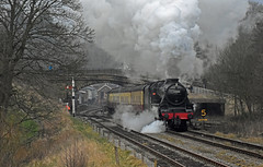 LMS Black Five No.44806 departs southbound from Goathland on 28th March 2017 [NYMR] (soberhill) Tags: rail railway train steam 2017 northyorkshiremoorsrailway nymr lms blackfive black5 44806 goathland
