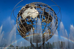 EM-170716-POST-004 (Minister Erik McGregor) Tags: erikmcgregor nyc newyork photography 9172258963 erikrivashotmailcom ©erikmcgregor usa photooftheday unisphere rainbow water waterislife worldsfair earth steel sculpture fountain coronapark flushingmeadows queens nycparks streetphotography landscapephotography nikon 2017