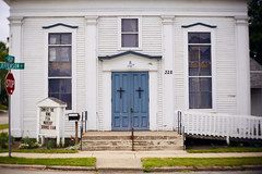 Methodist Episcopal Church (bill.d) Tags: barrycounty hastings michigan us unitedstates downtown summer lensbaby twist 60 church door blue historic building architecture