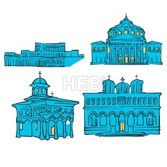 Bucharest, Romania, Colored Landmarks (Hebstreits) Tags: abstract art athenaeum background blue bucharest canvas capital card cathedral church color colors concert destination europe facade greeting hall illustration infographic monastery monument night palace parliament patriarchal pen presentation print romania romanian sketch stavropoleos tourism tourist travel trip urban vector wall yellow