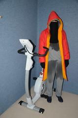 Torture Fitness (Warm Clothes Fetish) Tags: cycle bike sweat sweaty wet niqab burka hijab chador torture hot warm boots coat fur girl fitness