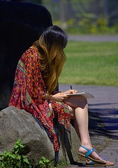 Recording Her Thoughts (swong95765) Tags: woman female lady writing seated park pretty leg