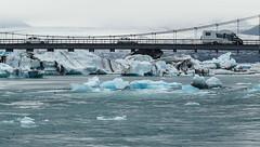 Perilous Journey (micheledibitetto) Tags: journey perilous dangerous bridge water lagoon glacier ice blue white landscape paisaje iceland vatnajokull car cars ngc