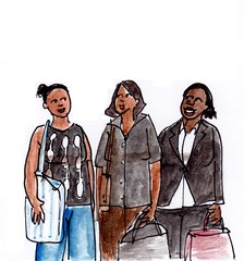 Op het station (h e r m a n) Tags: herman illustratie tekening drawing illustration dagboek diary journal station perron trein treinleven drievrouwen threewomen gesprek conversation