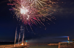 Fireworks from France (laurent_trinco) Tags: fireworks summer sea re ile france night colors beauty beautiful blue sky light ngc artifice feu feux iledere port fiesta fete juillet july 14 bulb longue stars skyline joy fun nuit colored
