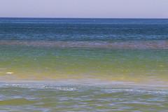 Band of Sea Color (brucetopher) Tags: beach water sea ocean currents wave waves surf blue atlantic coast coastline horizon color colorful ripples green break breaking sandbar