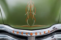 Olive suede (GmanViz) Tags: gmanviz color car automobile detail nikon d7000 goodguysppgnationals 1955 chevrolet pickup truck grille hood chrome pinstripes