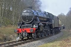 LMS Black Five No.44806 southbound at Fen Bog on 28th March 2017 [NYMR] (soberhill) Tags: rail railway train steam 2017 northyorkshiremoorsrailway nymr lms blackfive black5 44806 fenbog