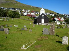 Sørvágur seen from the old cemetery (Jaedde & Sis) Tags: føroyar vágar sørvágur village church cemetery challengefactorywinner unanimous thechallengefactory