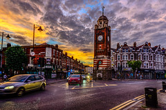 Crouch End Clock Tower (George Plakides) Tags: crouchend clocktower evening sunset yellow golden sky clouds glow hdr nikon d800e twop