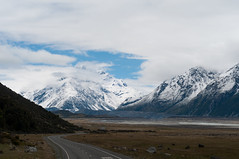 The road to Mt. Cook (S.askins15) Tags: mountains snowcapped snow road direction travel nz newzealand landscape sky clouds view