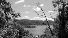 Sotto in bilico (lightsaber*) Tags: landscape panorama lake island italy piemonte san giulio lago orta trees tree clouds cloud bianco nero bn bw black white blackandwhite down sotto paesaggio italia hovering under mood sad explore