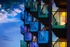 Colorful Balconies of Ruysdaelstraat in Deventer (Bart Ros) Tags: ifttt 500px sky city color reflection window night light house urban architecture abstract summer building background beautiful art industry glass apartment facade modern outdoors illuminated expression futuristic technology business contemporary no person deventer