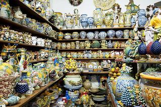 Traditional ceramics shop in Taormina, Sicily, Italy