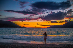 Girl at sunset (Vagelis Pikoulas) Tags: porto germeno greece summer girl canon tokina 6d 2470mm view beach sea seascape landscape sky sunset woman july 2017